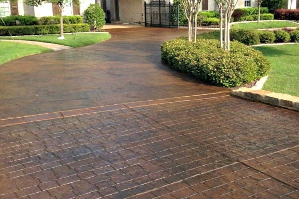 stamped concrete driveway installation