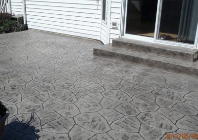 stamped concrete patio grey